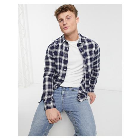 Burton Menswear long sleeve shirt in ecru & navy check