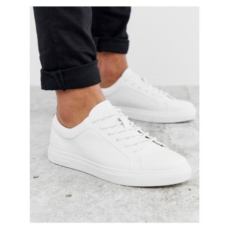 Jack & Jones Premium faux leather trainer in white