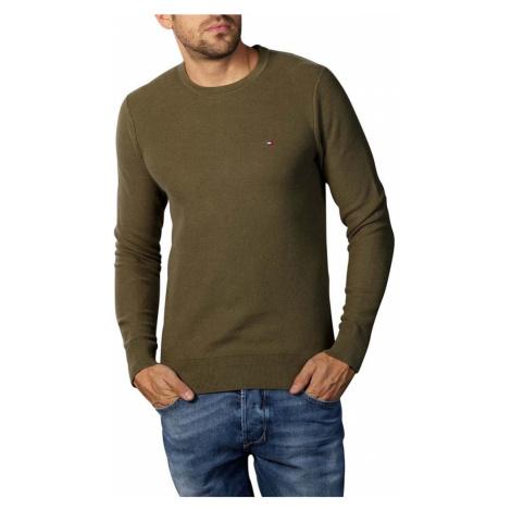 Tommy Hilfiger pánský khaki svetr Honeycomb
