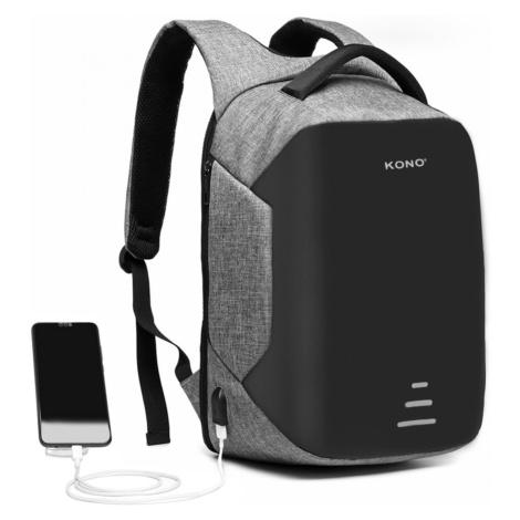 Šedý bezpečnostní voděodolný batoh s USB portem Conor Lulu Bags