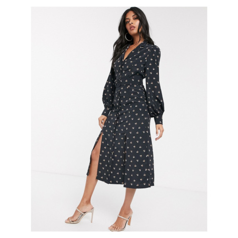 Fashion Union shirt dress with belted waist in allover ditsy floral-Black