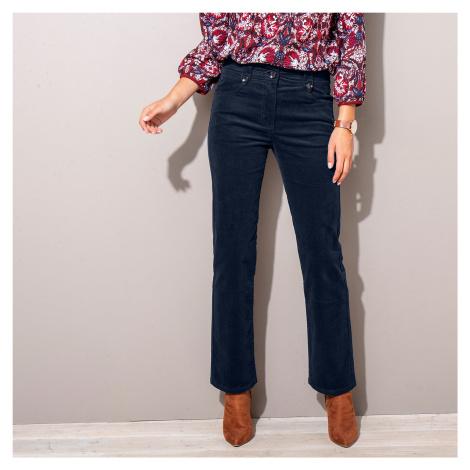 Manšestrové kalhoty s knoflíky námořnická modrá