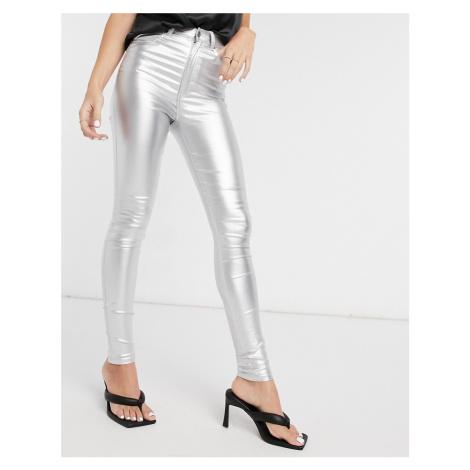 Dr Denim Moxy skinny jeans in silver metallic Dr. Denim