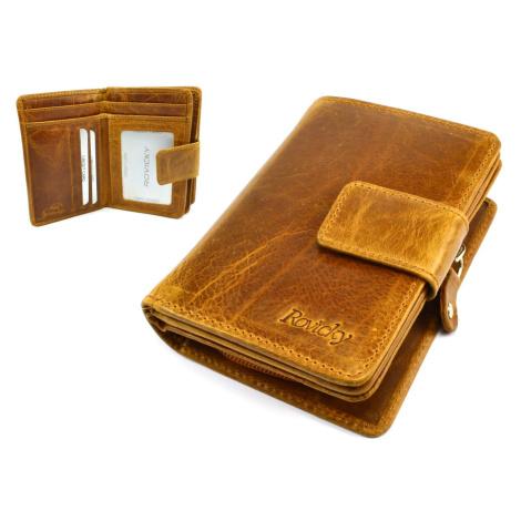 Světle hnědá kožená dámská peněženka s přezkou Rovicky