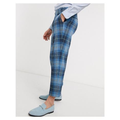 ASOS DESIGN slim crop smart trousers in 100% wool Harris Tweed check in blue