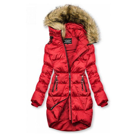 Červená lesklá zimní bunda Butikovo