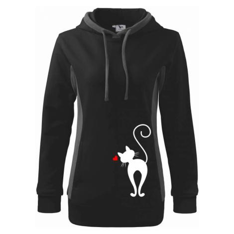 Zamilovaná kočka zezadu - Mikina dámská Kangaroo s kapucí
