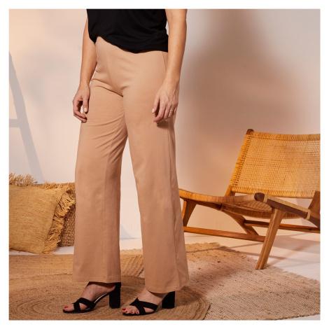 Blancheporte Široké úpletové kalhoty, jednobarevné béžová