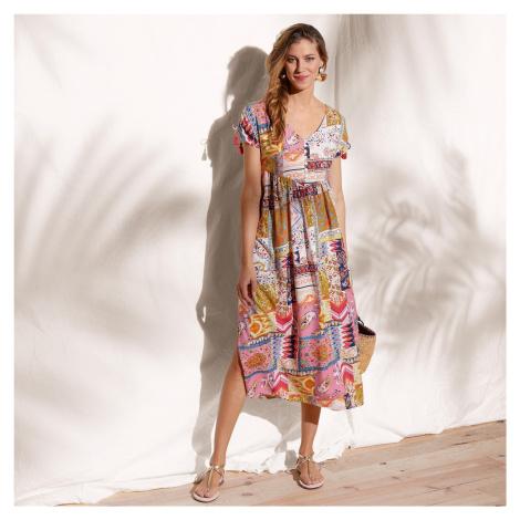 Blancheporte Polodlouhé šaty okrová/korálová