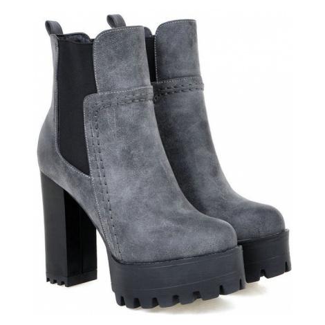 Kožené šněrovací boty na širokém podpatku chelsea boty dámské