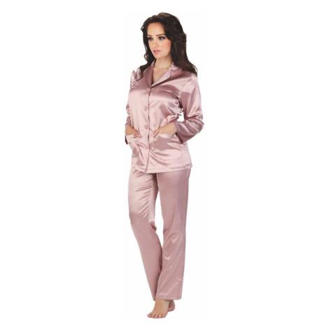 Dámské růžové saténové pyžamo Classic dlouhé
