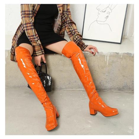 Latex žluté kozačky červené kožené boty lakovaná kůže
