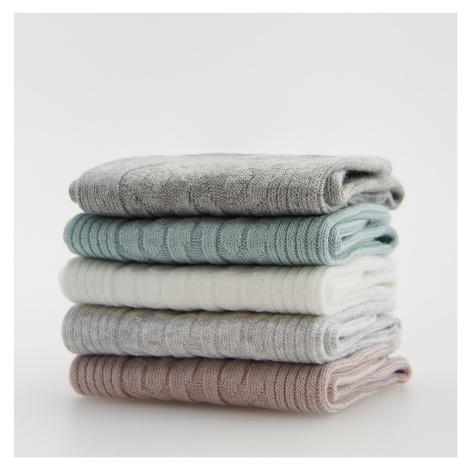 Reserved - Sada 5 párů barevných ponožek - Krémová
