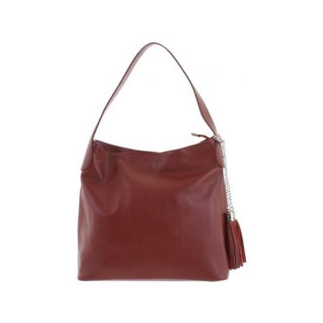 Italy Módní kožená kabelka přes rameno bordó - Georgine Červená