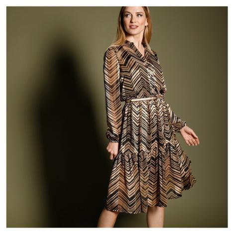 Blancheporte Šaty s potiskem, v midi délce černá/béžová