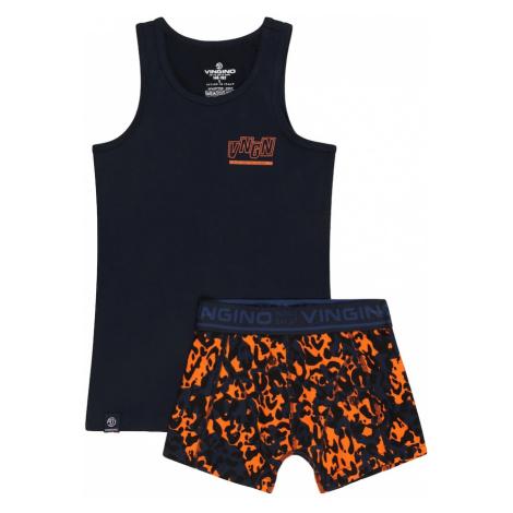 VINGINO Prádlo-souprava 'Milan' noční modrá / jasně oranžová / chladná modrá