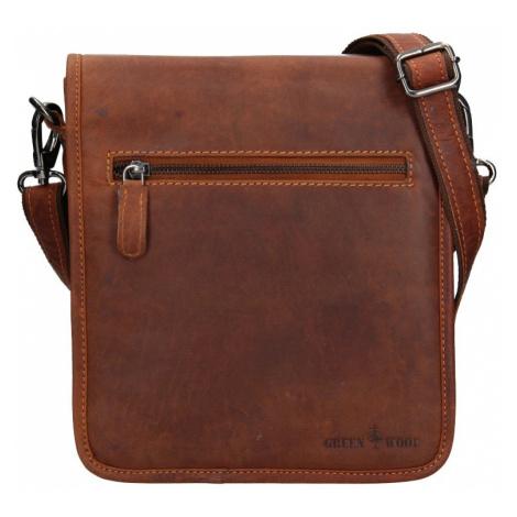Pánská kožená taška přes rameno Greenwood David - hnědá