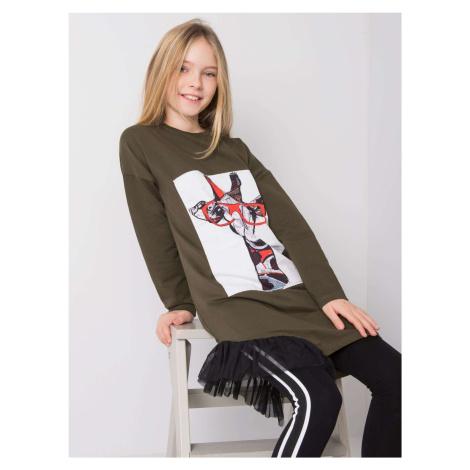 Khaki šaty pro dívku s dlouhými rukávy
