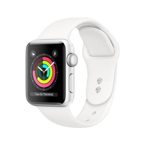 Repasované Apple Watch Series 4 40mm Stříbrný hliník s bílým sportovním řemínkem