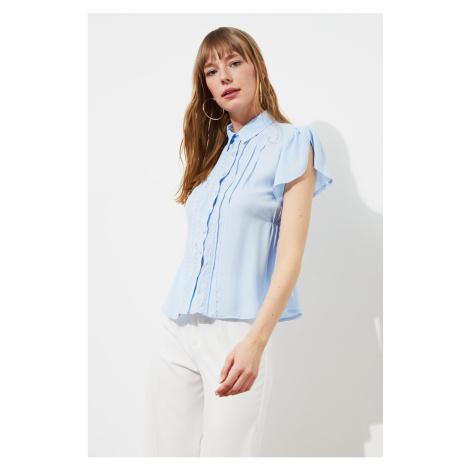 Trendyol Blue Lace Detail Shirt