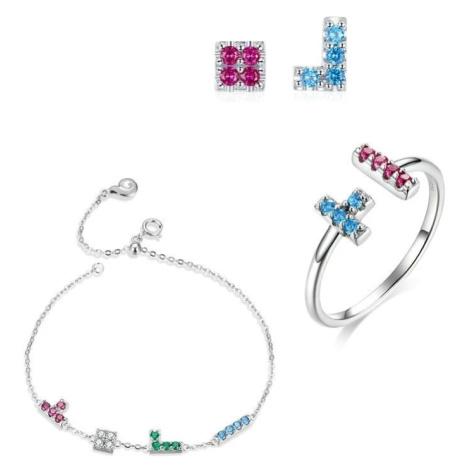 Linda's Jewelry Zvýhodněná sada šperků Tetris Ag 925/1000 IS047