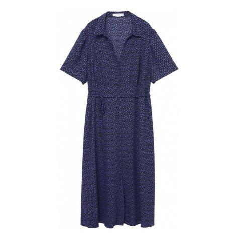 MANGO Košilové šaty 'LAURA' černá / tmavě fialová