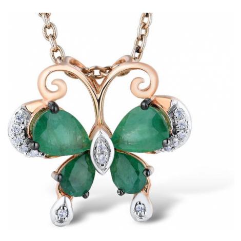 Nádherný zlatý přívěsek se smaragdy ve tvaru motýlu