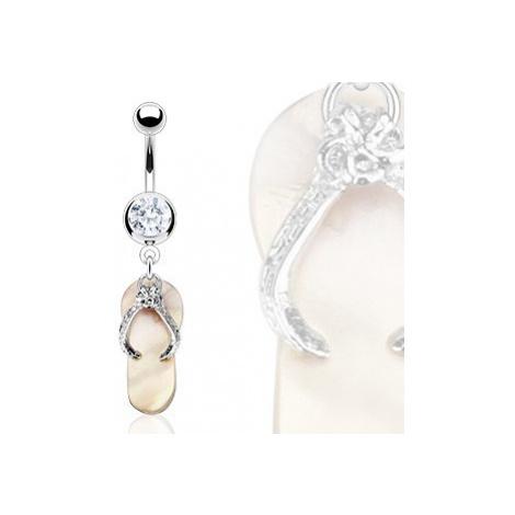 Piercing do pupíku - perleťová žabka, zirkon Šperky eshop