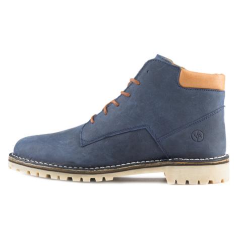 Vasky Hillside Blue - Dámské kožené kotníkové boty modré, česká výroba