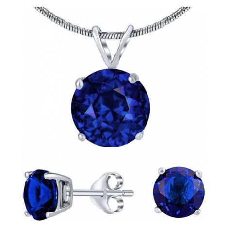 Silvego Stříbrný set šperků s tmavě modrým křišťálem JJJS8TM1 (náušnice, přívěsek)