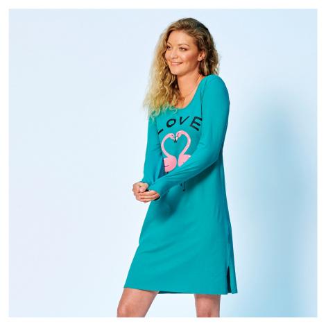 Blancheporte Krátká noční košile, motiv lásky, dlouhé rukávy smaragdová