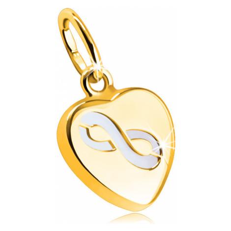 """Oboustranný přívěsek z 9K zlata - motiv srdíčka z perleti v tenké hladké objímce, vzor """"INFINITY Šperky eshop"""