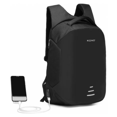 Černý bezpečnostní voděodolný batoh s USB portem Conor Lulu Bags