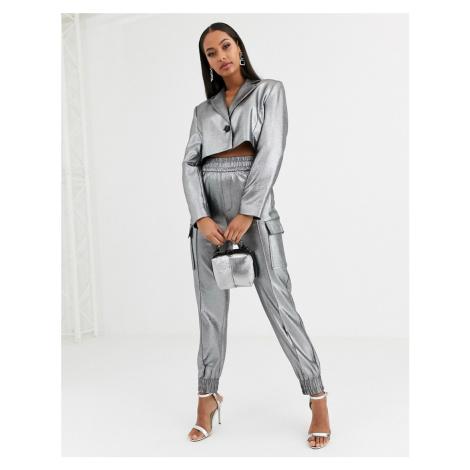 ASOS DESIGN metallic cropped suit blazer-Silver
