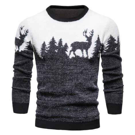 Pánský svetr se sobem vánoční svetr s kulatým výstřihem