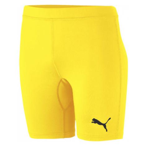 Puma LIGA BASELAYER SHORT TIGH JR žlutá - Dětské sportovní šortky