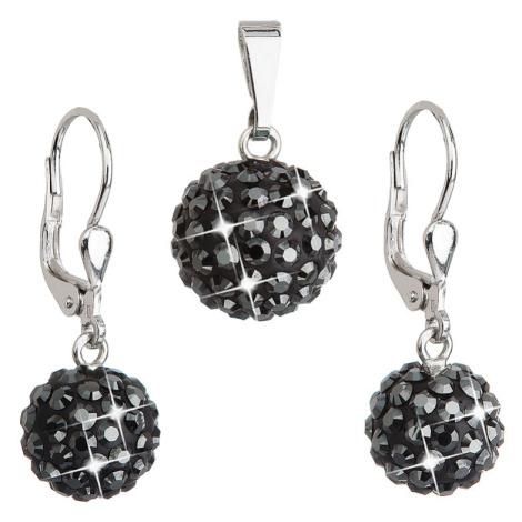 Evolution Group Sada šperků s krystaly Swarovski náušnice a přívěsek černé kulaté 39072.5