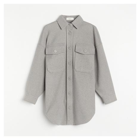 Reserved - Košilová bunda z keprového žerzeje - Světle šedá
