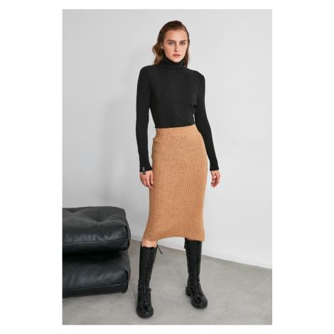 Trendyol Camel Slit Detailed Knitwear Skirt