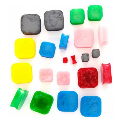 Plug do ucha - dvoubarevný živicový čtverec - Tloušťka : 8 mm, Barva piercing: Zelená Šperky eshop