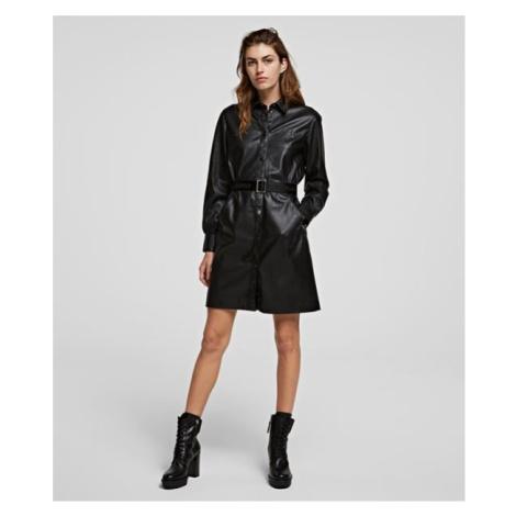 Šaty Karl Lagerfeld Faux Leather Shirt Dress - Černá