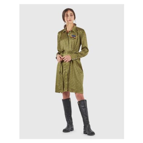 Šaty La Martina Woman Dress L/S Diamond Print - Zelená