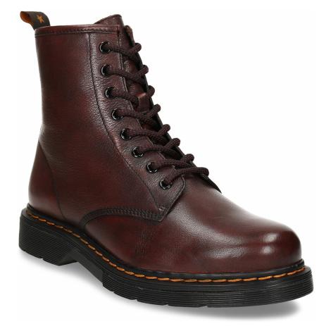 Dámská šněrovací kotníková obuv v tmavočervené kůži Baťa