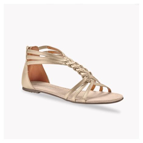 Blancheporte Ploché splétané sandály, zlaté zlatá