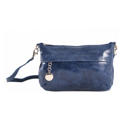 Dámská kabelka/kapsa i společenská s leskem kožená modrá, 22 x 7 x 14 (IT00-20149-41KUZ)