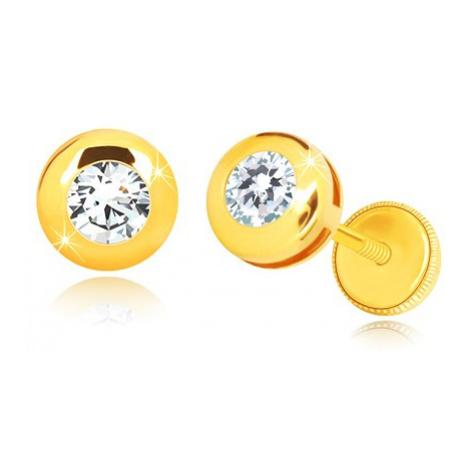 Náušnice ze žlutého 14K zlata - zrcadlově lesklý kruh s čirým kulatým zirkonem Šperky eshop