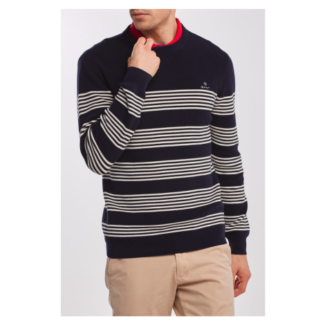 SVETR GANT D1. STRIPED RIBBED C-NECK