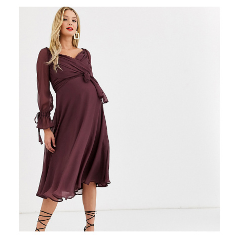 ASOS DESIGN Maternity midi dress with layered skirt and wrap waist with lace trim detail-Purple