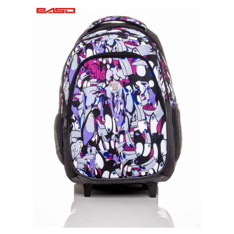 School backpack on wheels with a toucan print