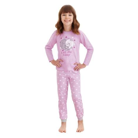 Dívčí pyžamo Elza fialové kočky Taro